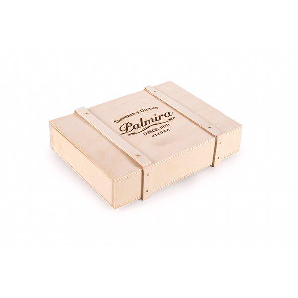 Caja de Madera Cerrada con Lote de Turrones Palmira Tamaño Mini